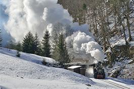 Galerie Rumänien Wassertal Winter Tanago Eisenbahnreisen